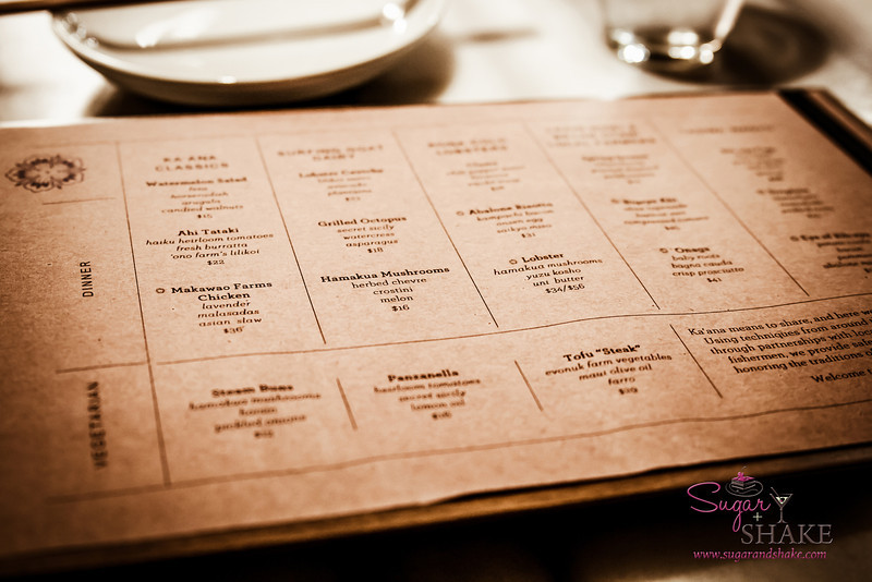 The Ka'ana Kitchen menu is divided by where the food is sourced from. © 2014 Sugar + Shake