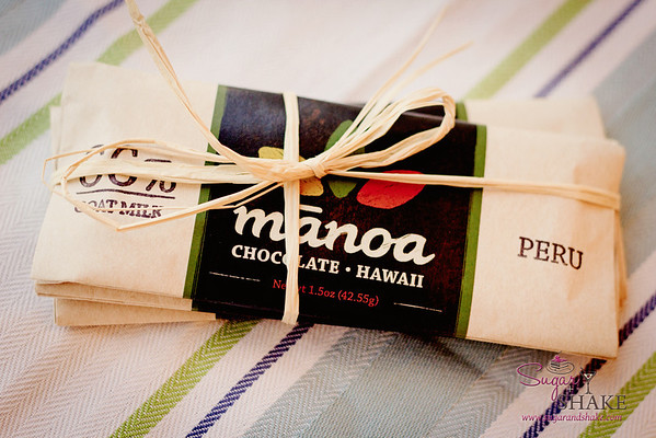 Shake brought home a set of three bars from a boutique chocolate company, Manoa Chocolate. © 2012 Sugar + Shake