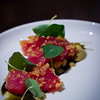Chef Sheldon Simeon creation: 'Ahi with Fried Quinoa, Nori Purée, Usukuchi Shoyu and Nasturtium. © 2013 Sugar + Shake