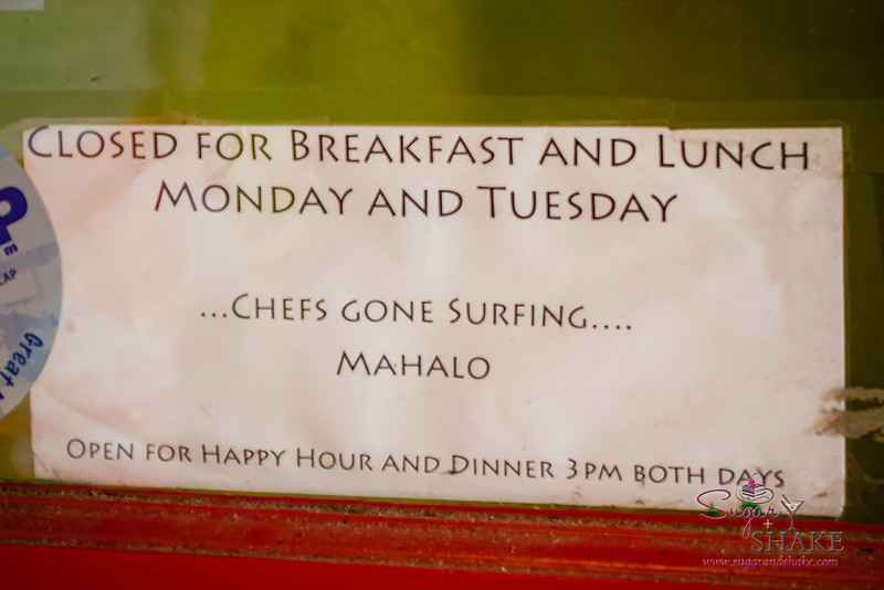 Love the sign on the door at Three's Bar & Grill in Kihei. © 2013 Sugar + Shake