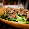 Sesame seed-coated seared 'ahi. #MalamaMaui media dinner at Travaasa Hāna's Ka'uiki Restaurant. © 2015 Sugar + Shake