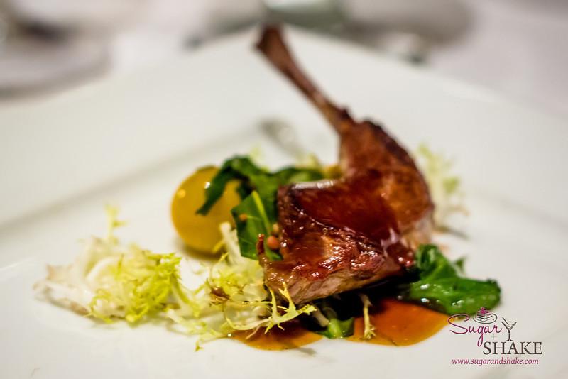 "Mavro Summer Menu Dinner: Squab - Jasmine Tea (Second Course) — Thigh on Dandelion Greens, Poha Berry Salad. Wine Pairing: Chateau Des Jacques, 2010 Morgon ""Cote Du Py."" © 2013 Sugar + Shake"