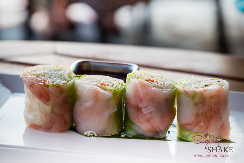 Shrimp summer rolls with a delicious ginger-pesto sauce on the rice noodles. Westin Maui's Relish Oceanside. © 2015 Sugar + Shake