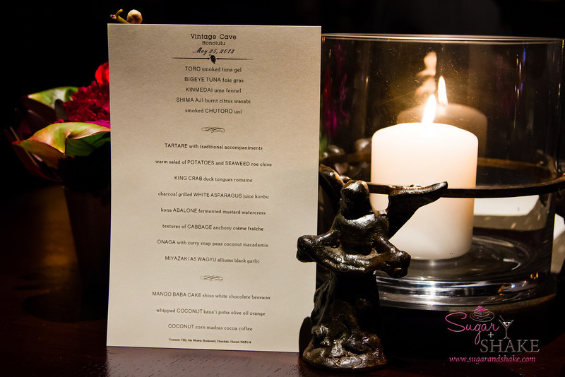 Menu for the evening. The number of courses can vary on any given evening. © 2013 Sugar + Shake