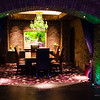 One of the private dining alcoves off the main room. Each is furnished with its own colored Swarovski chandelier. Obviously, this is the emerald room. There is a ruby and an amethyst room, too. © 2013 Sugar + Shake