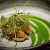 Amazingly tender Kona abalone with fermented mustard and watercress (the green puree) and frizzled ogo (seaweed). © 2013 Sugar + Shake