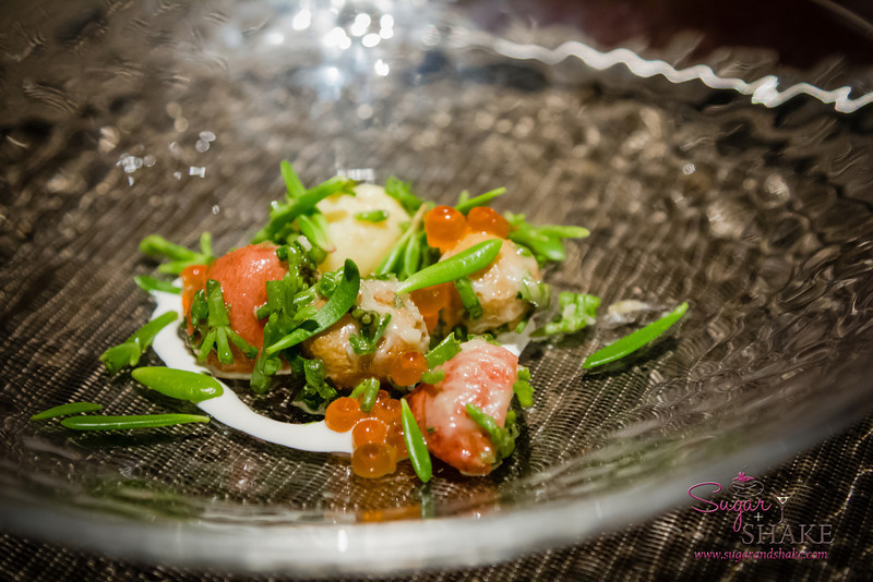 Warm Potato Salad with Sea Asparagus, 'Ākulikuli and Ikura. All the large lumps are baby potatoes. 'Ākulikuli (sea purslane) are the leaf bits. © 2013 Sugar + Shake