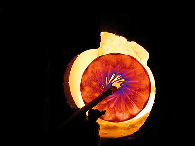 """""""HOT, HOT GLASS""""     Glass in the furnace at Gallery B, Toledo Ohio"""