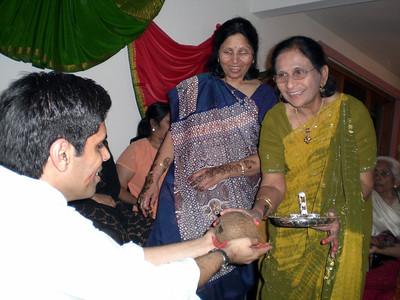 Mom and Lata Masi in the coconut ceremony (Thursday)