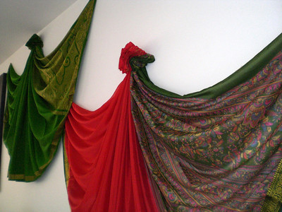 Sarees decorate the house