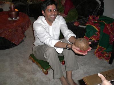 Sujal still holding a coconut (Thursday)