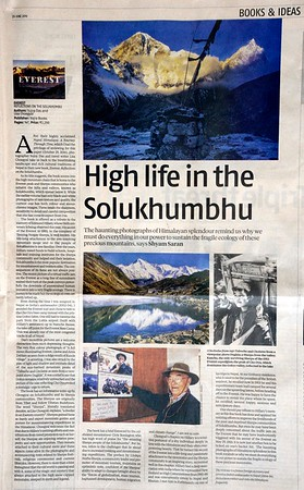 Review of Everest Reflections on the Solukhumbu - Business Standard June 29th 2019 by Shyam Saran  https://www.business-standard.com/article/beyond-business/book-review-photos-paying-tribute-to-the-himalayan-splendour-of-solukhumbu-119062801475_1.html