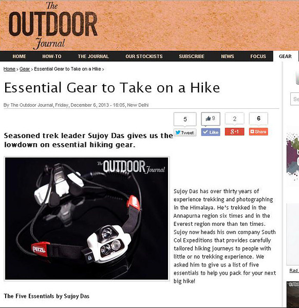 The Outdoor Journal Dec 6th 2013  http://www.outdoorjournal.in/articles/gear/2013/12/06/essential-gear-take-hike