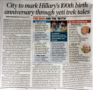 THe Sir Edmund Hillary centenary celebrations in Kolkata - Times of India report July 20th 2019. https://timesofindia.indiatimes.com/city/kolkata/city-to-mark-hillarys-100th-birth-anniversary-through-yeti-trek-tales/articleshow/70299556.cms