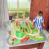 Lukey's new train track (and B2 pyjamas!)