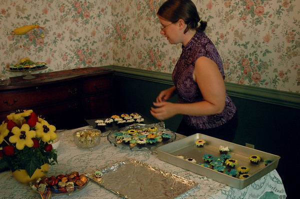 Cassie, setting up the sweets…