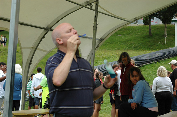 Bro. Doug Davis takes a moment to blow a few bubbles…