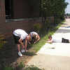 Nicholas, Blanton, and Grigsby tackle the weeds in the flower bed in the front of the school.