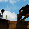 The full-credit students work on the FUMA obstacle course (under construction) on Thursday 7/23 in preparation for Friday's trip.