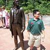 Jacob imitating a statue of Thomas Jefferson at Monticello.