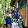 Cabin 2 group photo with counselors Bryan Halverson (top right) and Dylan Jackson (top middle in plad).