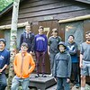 Cabin 7 group photo with counselors Stephen Grunawalt (left) and Ned Yonkers (right).