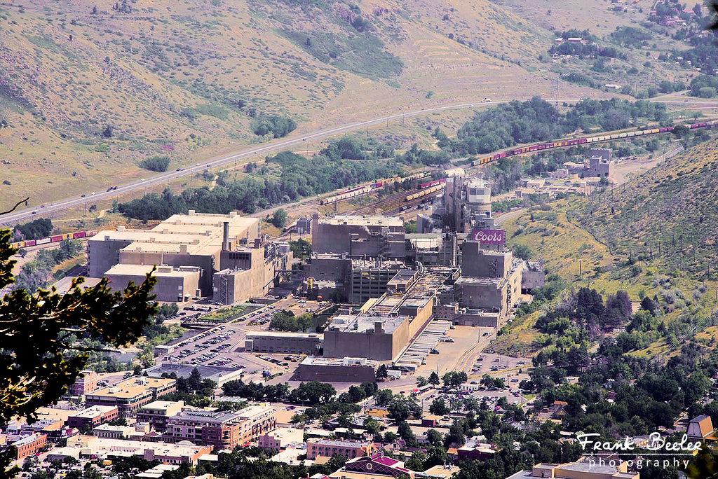 From Lariat Loop high above Golden you can see the Coors Beer Company factory