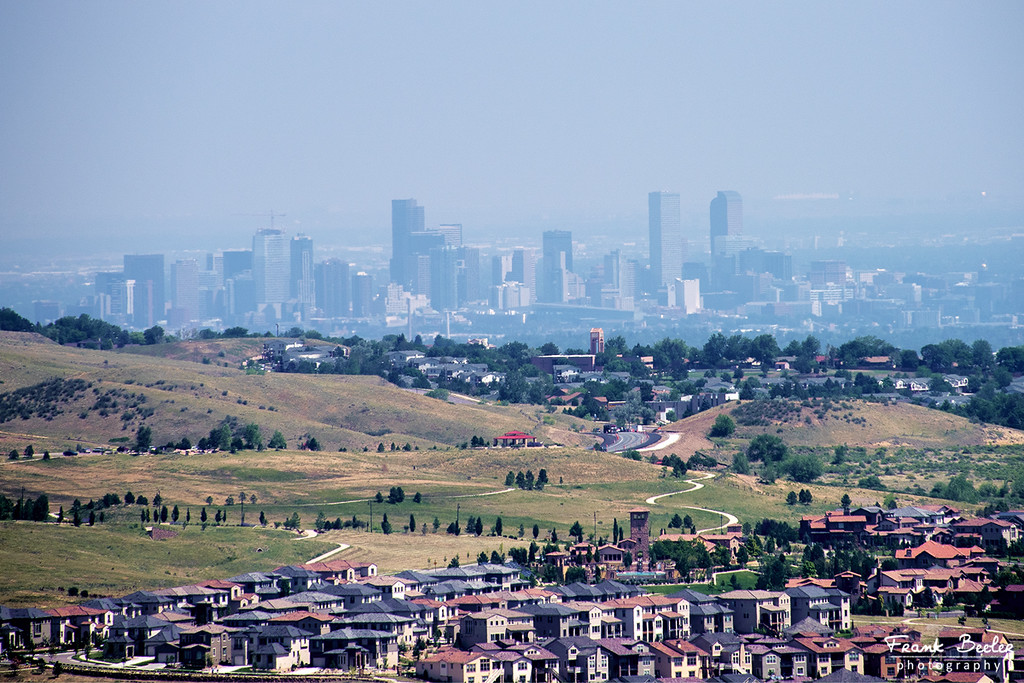 Zoomed in View of Downtown Denver from Red Rocks Park area.