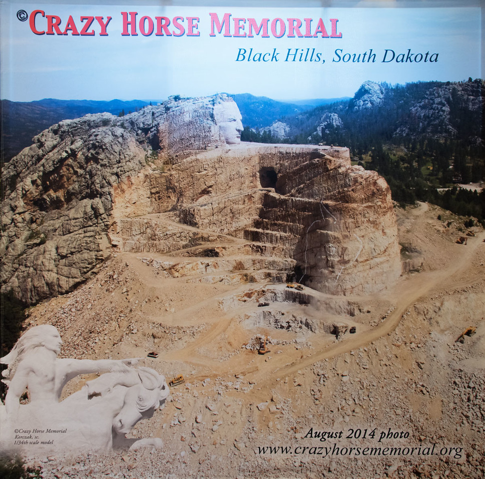 The  model in the lower left is what the Crazy Horse Memorial will look like when it is completed.