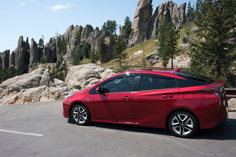Prius at a viewing area after passing through the Needles Eye Tunnel