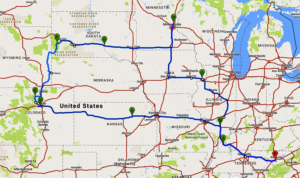 The adventure began on Aug 8. We traveled 4,189 miles and were on the road for 23 days covering 11 States.<br /> <br /> The map above shows our route and overnight stays in the following towns.<br /> K.....Knoxville, TN<br /> B.....Mt Vernon, IL<br /> C.....Junction City, KS<br /> D.....Denver, CO<br /> E.....Estes Park, CO<br /> F.....Hill City, SD<br /> G.....Chamberlain, SD<br /> H.....Lino Lakes, MN to visit Judy and Timor's family<br /> I......Davenport, IA <br /> J.....Paducah, KY  <br /> K.....Knoxville, TN
