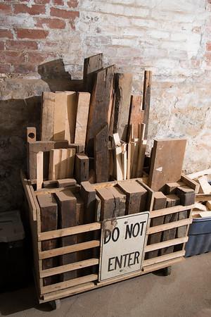 JIM VAIKNORAS/Staff photo Scrap wood at  Dana Etherington basement workshop.