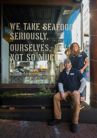 JIM VAIKNORAS/Staff photo Fred Derr and partner Hillary Burr at Fish in Newburyport.