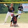 STAN HUDY - SHUDY@DGITALFIRSTMEDIA.COM<br /> North Colonie Bison Blue seocnd baseman Joey Karpierz steps and fires as Niskayuna base runner Tyler Borwhite slides into the bag, turning the first of two double plays by North Colonie Sunday afternoon in the Eastern New York Cal Ripken Baseball 12U quarterfinal at Boght Road Baseball Complex.
