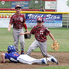 STAN HUDY - SHUDY@DIGITALFIRSTMEDIA.COM<br /> Mechanicville-Stillwater 9- and 10-year-old all-star second baseman William Coreno (right) and shortstop Colin Richardson (right) look up at the safe call by the base umpire as they attemped to double-up Saratoga National baserunner Jack Ragle in the fourth inning of the District 11-12 championship. MSLL won 15-4 in four innings.