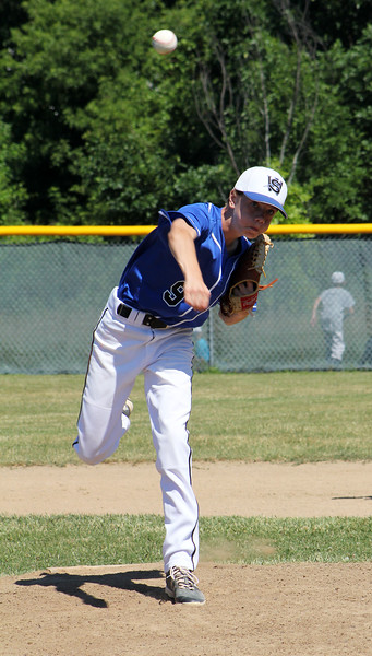 STAN HIUDY - SHUDY@DIGITALFIRSTMEDIA.COM<br /> Wilton/Saratoga American starting pitcher Ryan Ash was locked in during the 12U Cal Ripken Baeball Eastern New York semifinal Monday morning against North Colonie Blue. He struck out 11 in the 7-2 win.