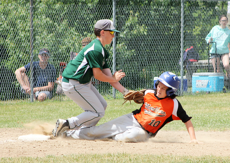 STAN HUDY - SHUDY@DIGITALFIRSTMEDIA.COM<br /> Marlboro base runner Mark Pesano slides into third base as Clifton Park Plainsmen 12U's Cal Van der Veer in the bottom of the fifth inning. Pesano was called safe on the play.