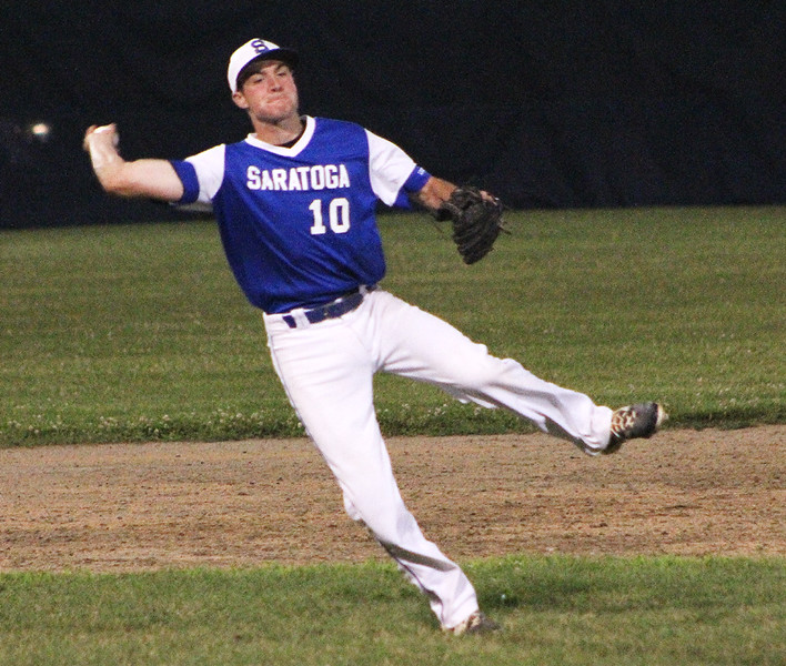 STAN HUDY - SHUDY@DIGITALFIRSTMEDIA.COM<br /> Saratoga Lightning shortstop Evan Ryan fires towards first base off balance in an attempt to throw out Clifton Park Gator Blue's Richard Drum Friday night in the Connie Mack Eastern New York State Tournament at the Clifton Common Baseball Complex.