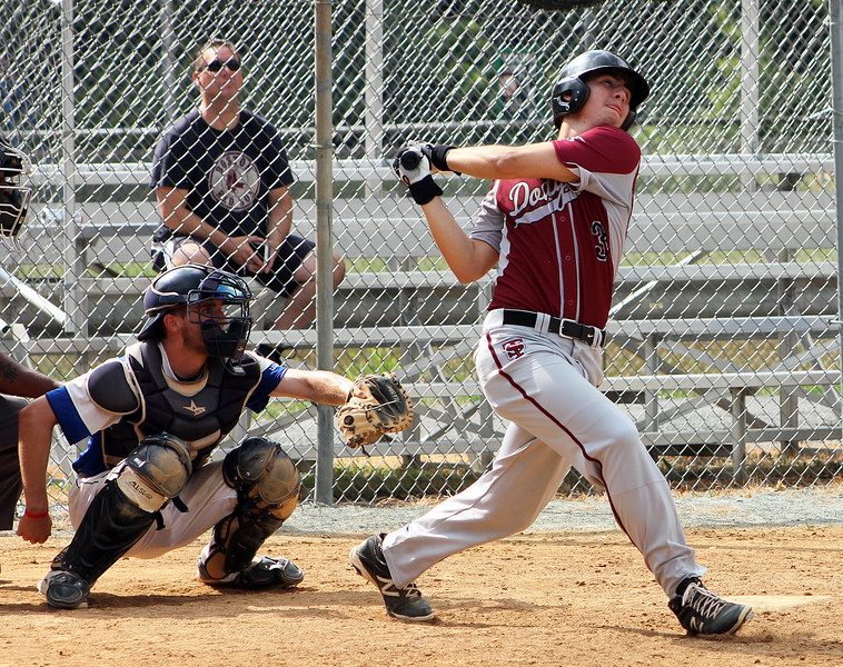 STAN HUDY-SHUDY@DIGITALFIRSTMEDIA.COM<br /> South Troy Dodgers batter Chris Hamilton swings away at  a pitch against the Saratoga Lightning July 22, 2016 during the Connie Mack North Atlantic Regional hosted by the South Troy Dodgers at Geer Field in Troy.