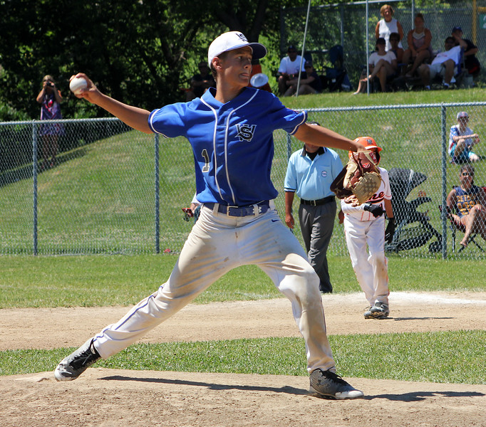STAN HUDY - SHUDY@DIGITALFIRSTMEDIA.COM<br /> Wilton/Saratoga American winning pitcher Sean Hudson fires towards home in the final inning of the 12U Cal Ripken Baseball Eastern New York State final at the Boght Area Baseball Complex in Latham. Wilton/SA won, 8-5