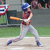 STAN HUDY - SHUDY@DIGITALFIRSTMEDIA.COM<br /> Mechanicville-Stillwater Little League batter William Coreno swings away during the July 15, 2016 Little League 9-10 District 10_11 championship game at Mechanicville-Stillwater.