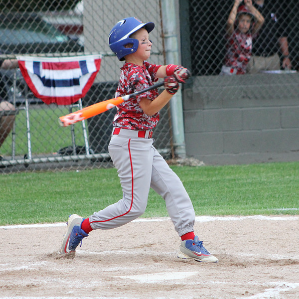 STAN HUDY - SHUDY@DIGITALFIRSTMEDIA.COM<br /> Mechanicville-Stillwater Little League batter Colin Richardson swings away during the July 15, 2016 Little League 9-10 District 10_11 championship game at Mechanicville-Stillwater.