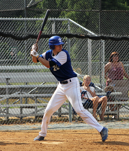 STAN HUDY-SHUDY@DIGITALFIRSTMEDIA.COM<br /> Saratoga Lightning batter Brendan Coffey is at the ready at the plate against the South Troy Dodgers July 22, 2016 during the Connie Mack North Atlantic Regional hosted by the South Troy Dodgers at Geer Field in Troy.