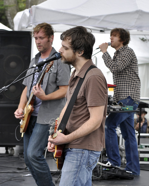 SAN FRANCISCO, CA-JUNE 30: Minus The Bear performs at the Oysterfest at Golden Gate Park in San Francisco, CA on June 30, 2012. (L-R): Dave Knudson, Jake Snider, Alex Rose (Photo by Clayton Call/Redferns)