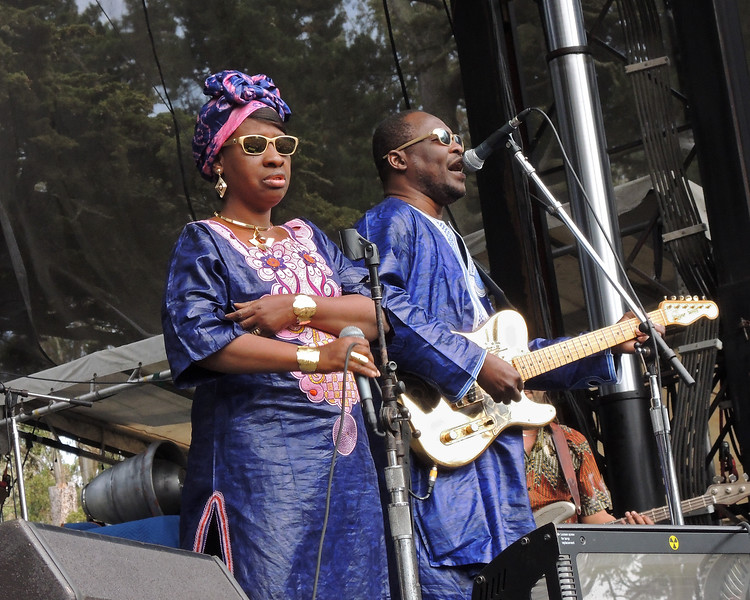 SAN FRANCISCO, CA, AUGUST 12: Amadou & Mariam perform at the Outside Lands Festival at Golden Gate Park in San Francisco, CA on August 12, 2012. (L-R): Mariam Doumbia, Amadou Bagayoko (Photo by Clayton Call/Redferns)