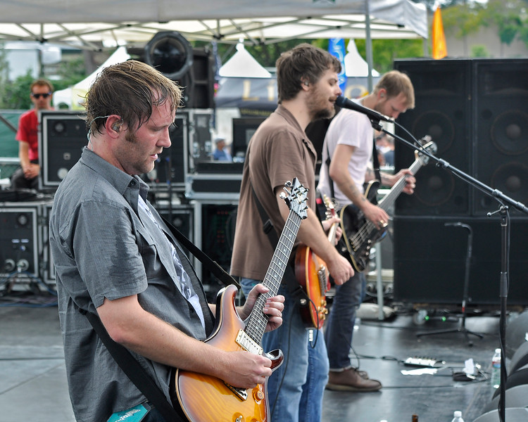 SAN FRANCISCO, CA-JUNE 30: Minus The Bear performs at the Oysterfest at Golden Gate Park in San Francisco, CA on June 30, 2012. (L-R): Dave Knudson, Jake Snider, Cory Murchy (Photo by Clayton Call/Redferns)