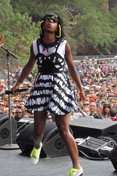 SAN FRANCISCO, CA, AUGUST 12: Santigold perfoms at the Outside Lands Festival at Golden Gate Park in San Francisco, CA on August 12, 2012. (Photo by Clayton Call/Redferns)