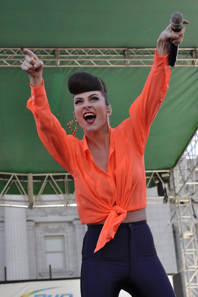 SAN FRANCISCO, CA-JUNE 24: Amy Heidemann performs with Karmin at the San Francisco Pride Festival in San Francisco, CA on June 24, 2012. (Photo by Clayton Call/Redferns)