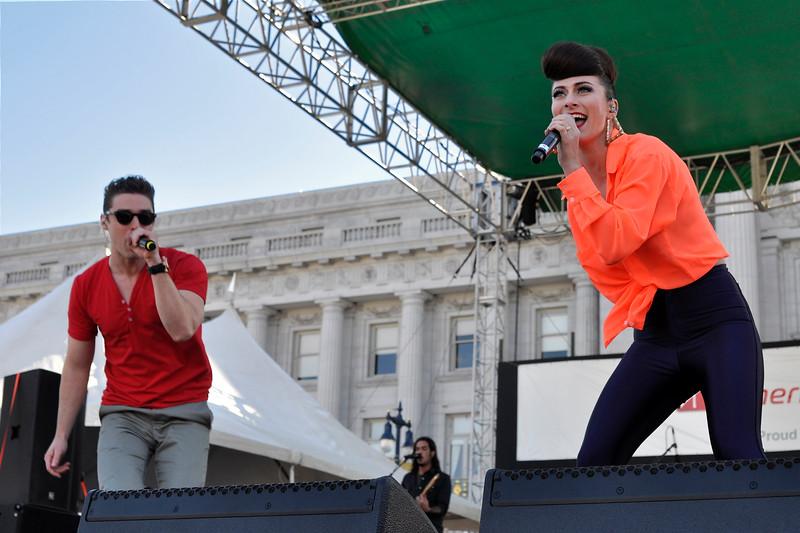 SAN FRANCISCO, CA-JUNE 24: Karmin performs at the San Francisco Pride Festival in San Francisco, CA on June 24, 2012. (L-R): Nick Noonan, Amy Heidemann.  (Photo by Clayton Call/Redferns)