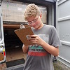 Kyan doing the paperwork for the container headed to Haines Alaska.